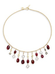 Ron Hami Diamond Rubellite And 18K Yellow Gold Bib Necklace Gold Red