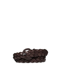 Michael Kors Woven Leather Belt Nutmeg