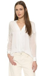 Vince Sheer Sleeve Pintuck Blouse Off White