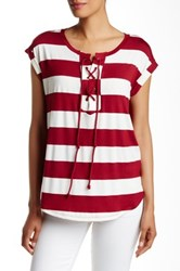 Pleione Striped Lace Up Front Woven Back Tee Red