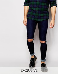 Reclaimed Vintage Super Skinny Jeans With Knee Rips Indigo