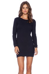 Monrow Birds Eye French Terry Long Fashion Sweater Dress Navy
