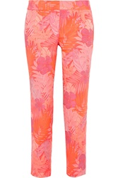 J.Crew Collection Neon Floral Jacquard Straight Leg Pants Pink