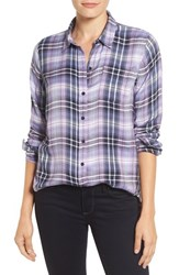Lucky Brand Women's 'Bungalow Plaid' Button Back Shirt Purple Multi