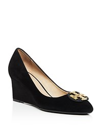Tory Burch Luna Suede Mid Heel Wedge Pumps Black Gold
