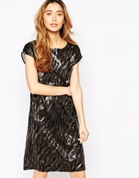Minimum Metallic Animal Print Shift Dress 1020Silver
