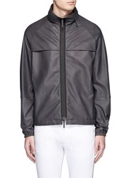 Armani Collezioni Lambskin Leather Field Jacket Grey