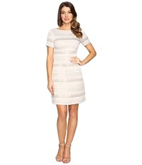 Vince Camuto Jacquard A Line Dress With Short Sleeves Beige Women's Dress