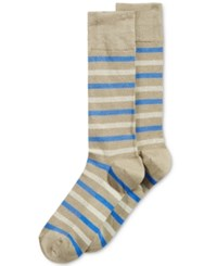 Perry Ellis Printed Dress Socks Khaki Stripe