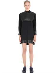 Space Style Concept Faux Leather And Silk Crepe Dress
