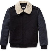 J.Crew Wallace And Barnes Faux Shearling Trimmed Wool Bomber Jacket Blue