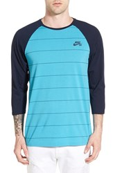Men's Nike Sb Dri Fit Stripe Baseball T Shirt Ome Blue Obsidian