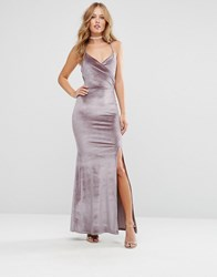 Club L Velvet Cami Strap Maxi With Fishtail Mink Brown