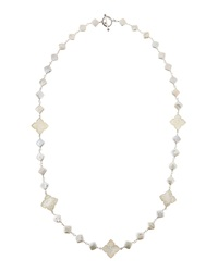 Stephen Dweck Long Pearl And Carved Clover Necklace