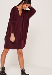 Missguided Wide V Neck T Shirt Dress Red Burgundy