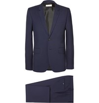 Saint Laurent Navy Slim Fit Virgin Wool Gabardine Suit Blue