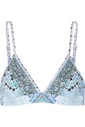 Camilla Sultans Gate Embellished Printed Stretch Jersey Triangle Bra Top