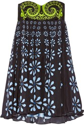 Holly Fulton Nusch Embellished Wool Twill And Printed Silk Crepe De Chine Mini Dress Black Blue