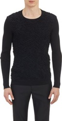 Jil Sander Popcorn Stitch And Open Work Knit Sweater Black