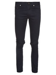 Saint Laurent Distressed Skinny Jeans Black