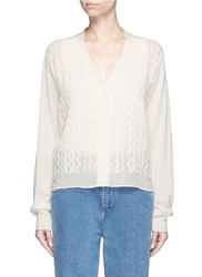 Chloe Knit Squiggle Silk Georgette Cardigan White