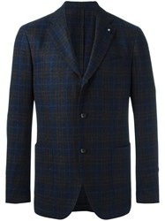 Lardini Patch Pockets Plaid Blazer Blue