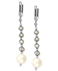 Effy Collection Pearl Lace By Effy Cultured Freshwater Pearl Cage Dangle Earrings In Sterling Silver 3 1 2Mm