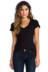 James Perse Casual V Neck Tee With Reverse Binding Black