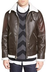Men's Members Only Water Resistant Faux Leather Flight Jacket