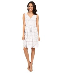 Adrianna Papell Deep V Neck Fit Flare Medallion Lace Dress White Women's Dress