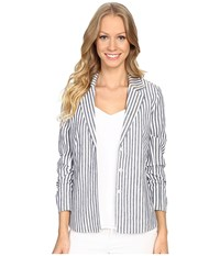Nydj Crop Derby Jacket Champion Navy Soft White Women's Coat