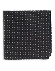 The Tie Bar Silk Dotted Pocket Square Black