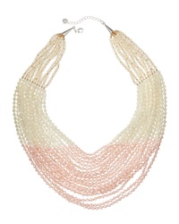 Nakamol Layered Bead Statement Necklace Pink White