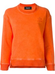 Dsquared2 Ribbed Crew Neck Sweatshirt Yellow And Orange