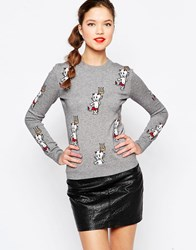 Love Moschino Devil Knitted Jumper Grey
