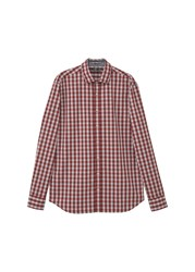Mango Men's Slim Fit Gingham Check Shirt Red
