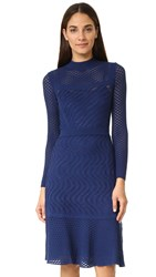 M Missoni Long Sleeve Knit Dress Navy