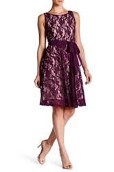 Taylor Floral Lace Fit And Flare Dress Purple