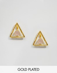 Ottoman Hands Rose Quartz Triangle Through And Through Earrings Gold