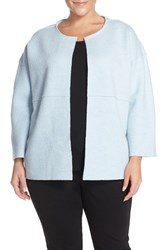Eileen Fisher Plus Size Women's Boiled Wool Round Neck Jacket Water