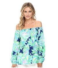 Lilly Pulitzer Enna Top Resort Navy Uptown Trunk Women's Clothing Green