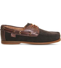 Polo Ralph Lauren Bienne Ii Suede And Leather Boat Shoes Dark Brown
