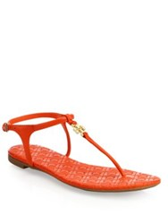 Tory Burch Marion Quilted Leather T Strap Sandals Poppy Red Black