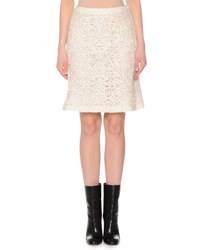 Agnona Lace Embroidered A Line Skirt Ivory