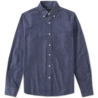 Beams Plus Button Down Denim Shirt Blue
