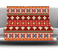 Amazon.Com Kess Inhouse Nandita Singh 'Borders Red' Fleece Throw Blanket 50 By 60 Inch Maroon