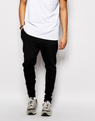 Only And Sons Sweatpants With Faux Leather Hem Panel Black