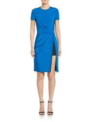 J. Mendel Draped Short Sleeve Dress Azure