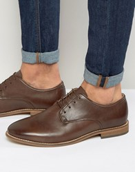 Asos Lace Up Shoes In Brown Leather Brown