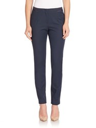 Lafayette 148 New York Gaberdine Tech Stretch Waist Detail Stanton Pants Ink